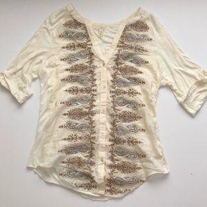 Anthropologie Tiny brand metallic embroidered top